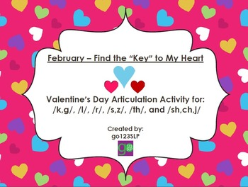 "Find the ""Key"" to My Heart - Articulation Activity"