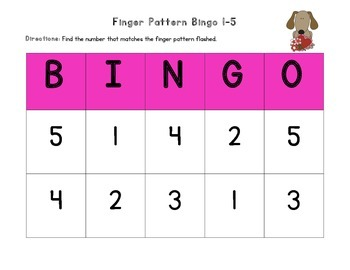 February Finger Pattern Bingo (Differentiated 1-5, 6-10, & 1-10)