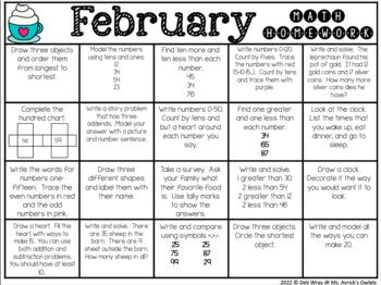 February First Grade Homework Choice Menus