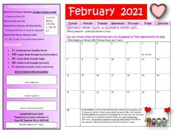 February 2019 Calendar For Workouts Fitness Calendars Worksheets & Teaching Resources | TpT