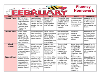 February Fluency Calendar