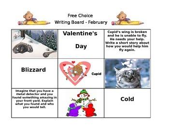 February Free Choice Writing Board
