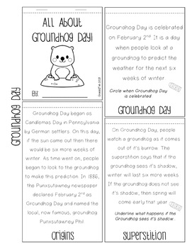 February Freebie! Word Search and Groundhog Day Flipbook
