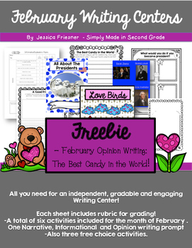 February Freebie:  Writing Center Sample  -Print and Go!