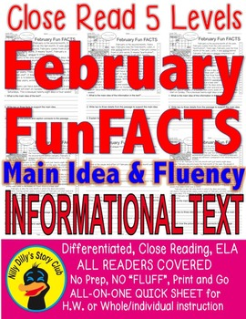 February Leap Year Fun FACTS Differentiated 5 levels ALL-READERS-COVERED