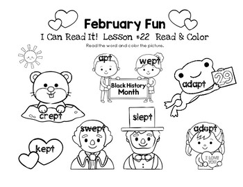 February Fun - I Can Read It! Read & Color (Lesson 22)