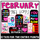 February Gift Tags (Gift Tags for Teachers and Students)