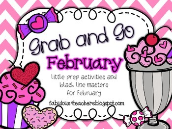 February Grab and Go {Printables and Black Line Masters}