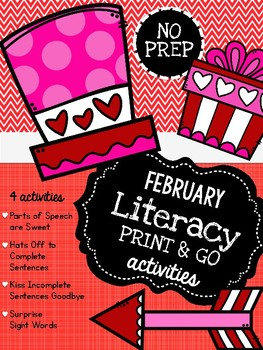 February Literacy Print & Go Activities