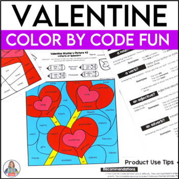 February Activities Color By Code Valentine Grammar