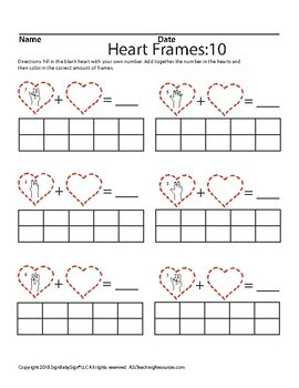 February Heart Frames: 10 (Math), ASL Sign Language