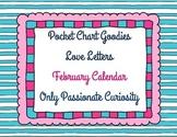 February Heart Themed Pocket Chart Calendar Cards