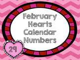 February Hearts Calendar Numbers