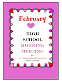 February High School Morning Meeting - By: Autism Classroom Creations