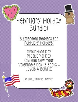 February Holiday Bundle: 6 Emergent Readers with Different