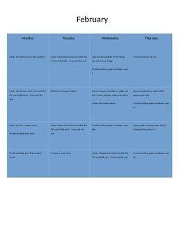 February Homework Calendar Package