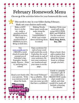 February Homework Menu