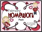 February Homework Pack for Kindergarten