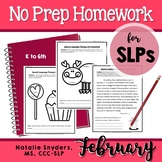 February Homework Packet for Speech Language Therapy
