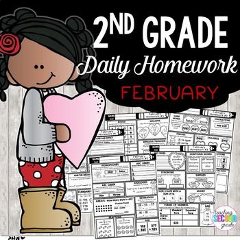 February Homework or Morning Work for 2nd Grade