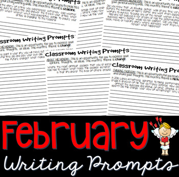 Writing Prompts FEBRUARY (Bell Ringer, Morning Work, Daily Writing)