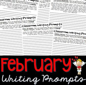 FEBRUARY Journal Writing Prompts (Bell Ringer, Morning Wor