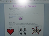 February Interactive  Newsletter with Boardmaker Symbols and Sign Language