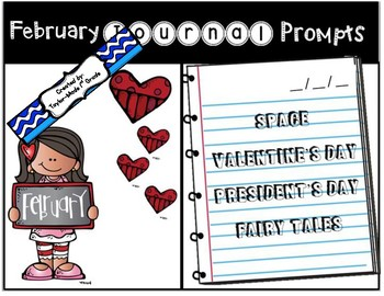 February Journal Prompts - NO PREP & PAPERLESS