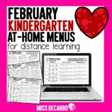 February Kindergarten At Home Menus Distance Learning