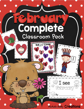 February Kindergarten BUNDLE No Prep Math & Literacy, Cent