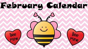 February Kindergarten Calendar for Cleartouch Panels (2020)
