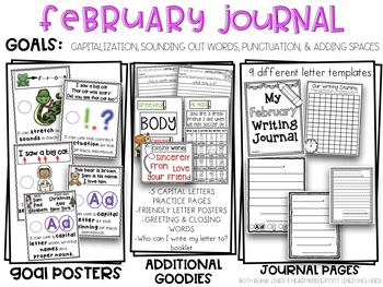 Kindergarten Writing Journal February Friendly Letter Writing