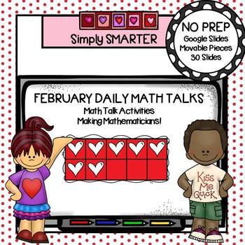 February Kindergarten Digital Daily Math Talks For GOOGLE SLIDES