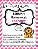 February Kindergarten Homework