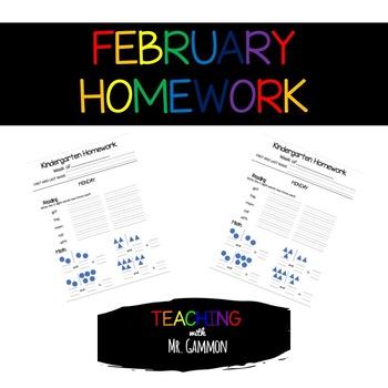 February Kindergarten Homework (Growing Product)