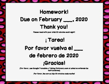 February Kindergarten Homework-Directions in English and Spanish