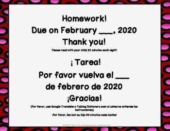 February Kindergarten Homework-Directions in English and Spanish