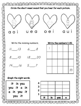February Kindergarten Morning Work, Daily Math and Literacy Practice