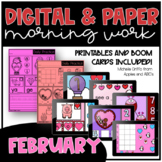 February Kindergarten Morning Work and Boom Cards / Distan