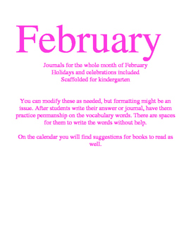 February Kindergarten Daily Writing Journals Week 1