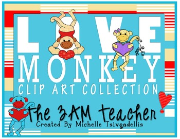 February LOVE MONKEYS Digital Clip Art Collection