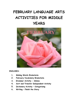 February Language Arts Activities for Middle Years