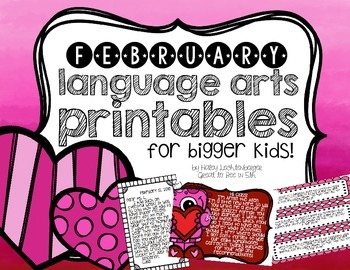 February Language Arts Printables and Interactive Notebook
