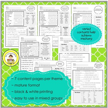 February  Language and Vocabulary Printables for Middle School Speech Therapy