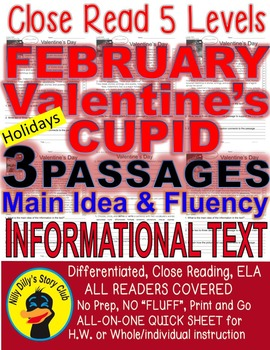Valentine's Day, Cupid, February Leap Yr FACTS 5 Level Passages Close Read
