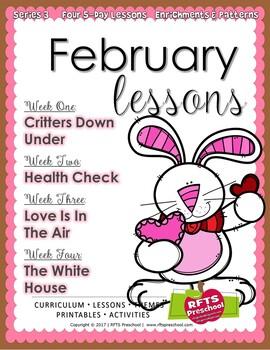 February Lessons Preschool Pre-K Kindergarten Curriculum BUNDLE S3