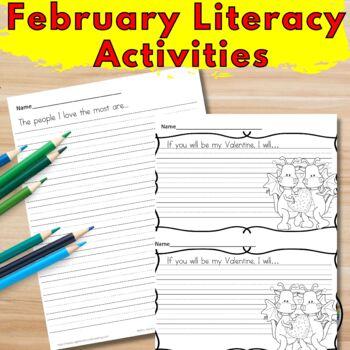 February Literacy Center Activities Bundle for Kindergarten