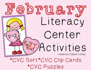 February Literacy Center Activities -- CVC Words