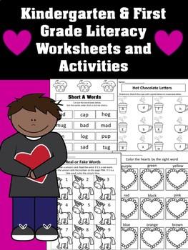 February Literacy Center Worksheets and Activities - Kindergarten - Valentines