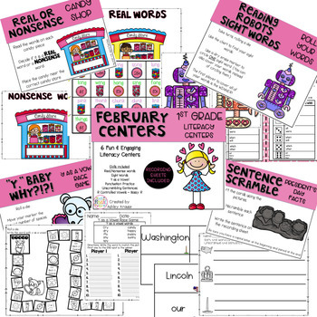 February Literacy Centers - 1st Grade